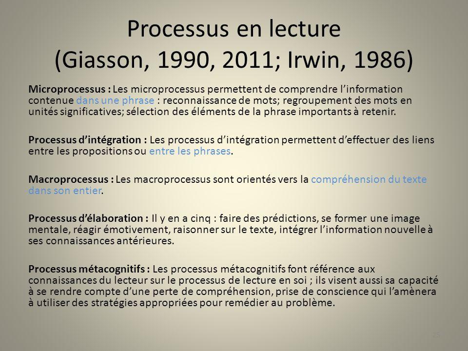 Processus en lecture (Giasson, 1990, 2011; Irwin, 1986)