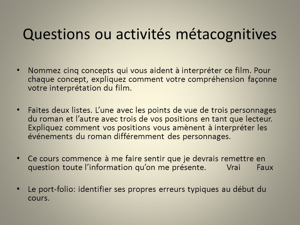 Questions ou activités métacognitives