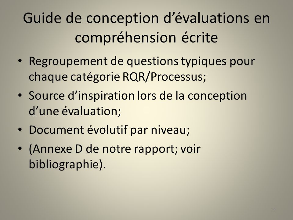 Guide de conception d'évaluations en compréhension écrite