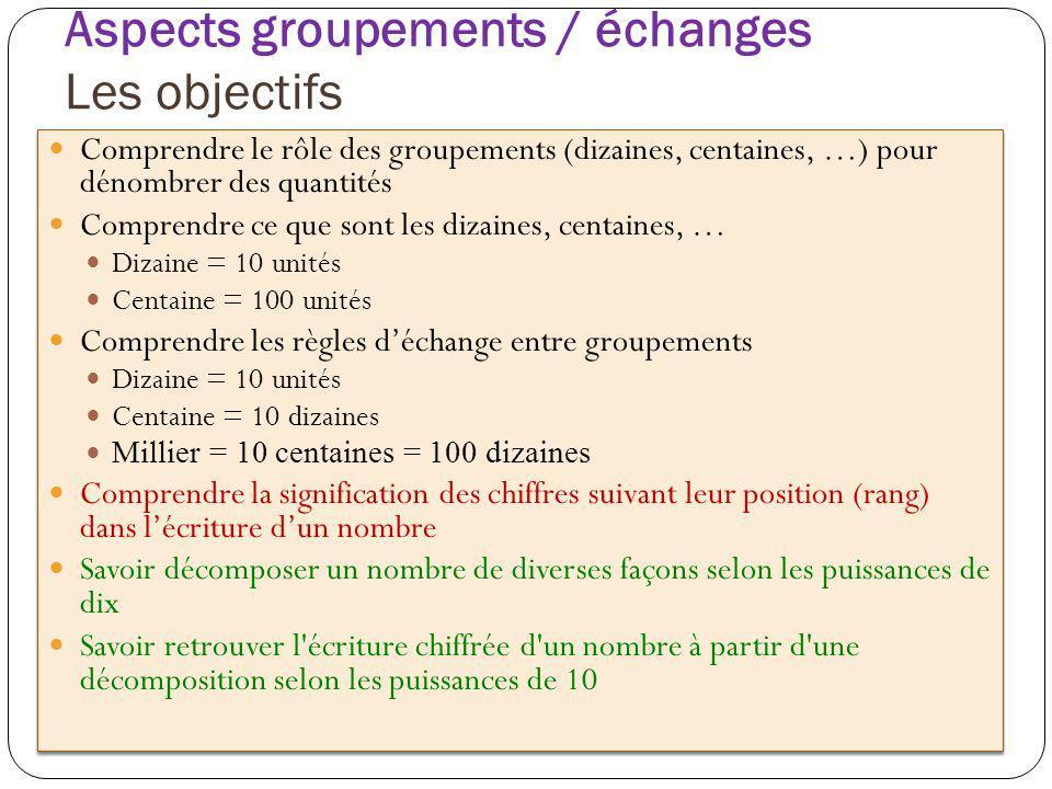 Aspects groupements / échanges Les objectifs