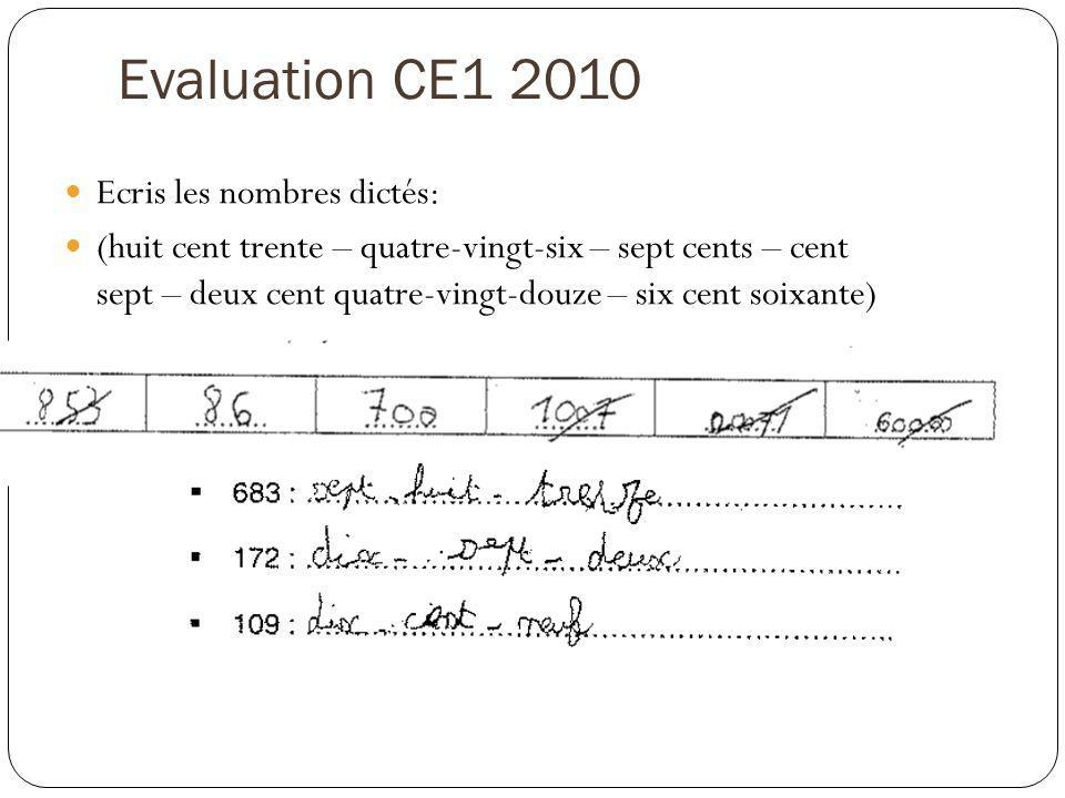 Evaluation CE1 2010 Ecris les nombres dictés: