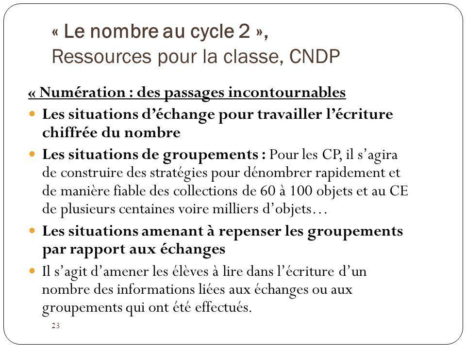 « Le nombre au cycle 2 », Ressources pour la classe, CNDP