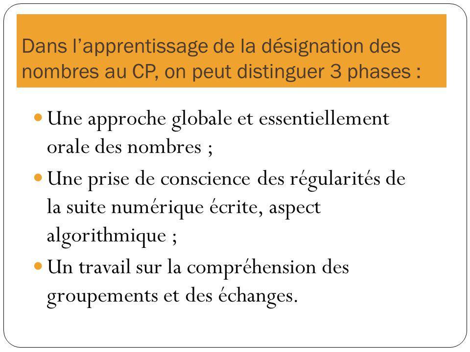 Une approche globale et essentiellement orale des nombres ;