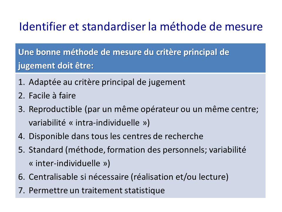 Identifier et standardiser la méthode de mesure
