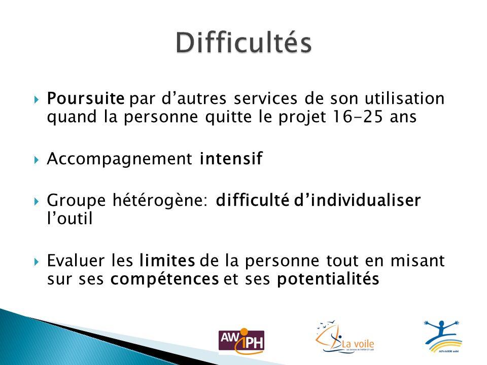 Difficultés Poursuite par d'autres services de son utilisation quand la personne quitte le projet 16-25 ans.