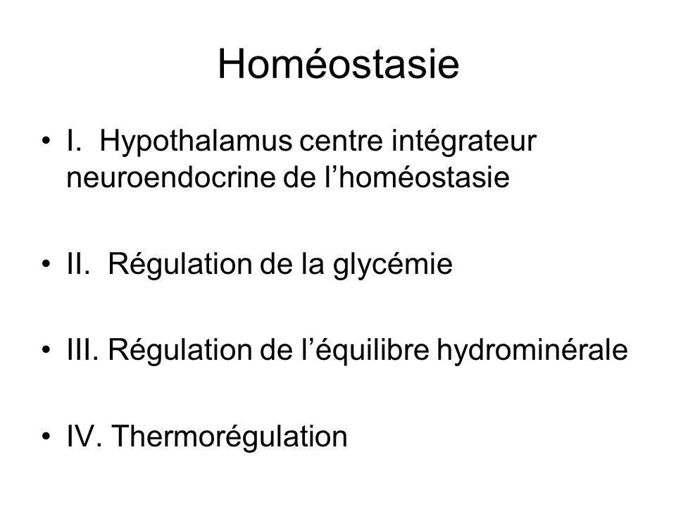 Homéostasie I. Hypothalamus centre intégrateur neuroendocrine de l'homéostasie. II. Régulation de la glycémie.
