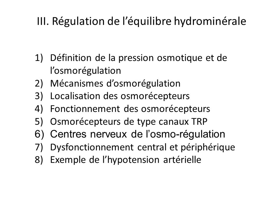 III. Régulation de l'équilibre hydrominérale
