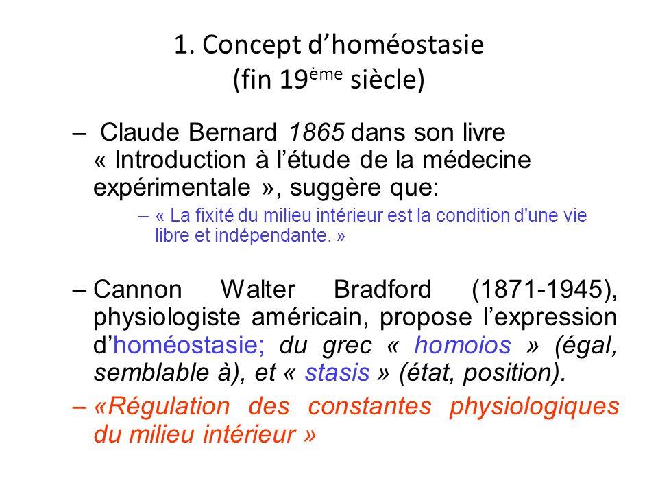 1. Concept d'homéostasie (fin 19ème siècle)