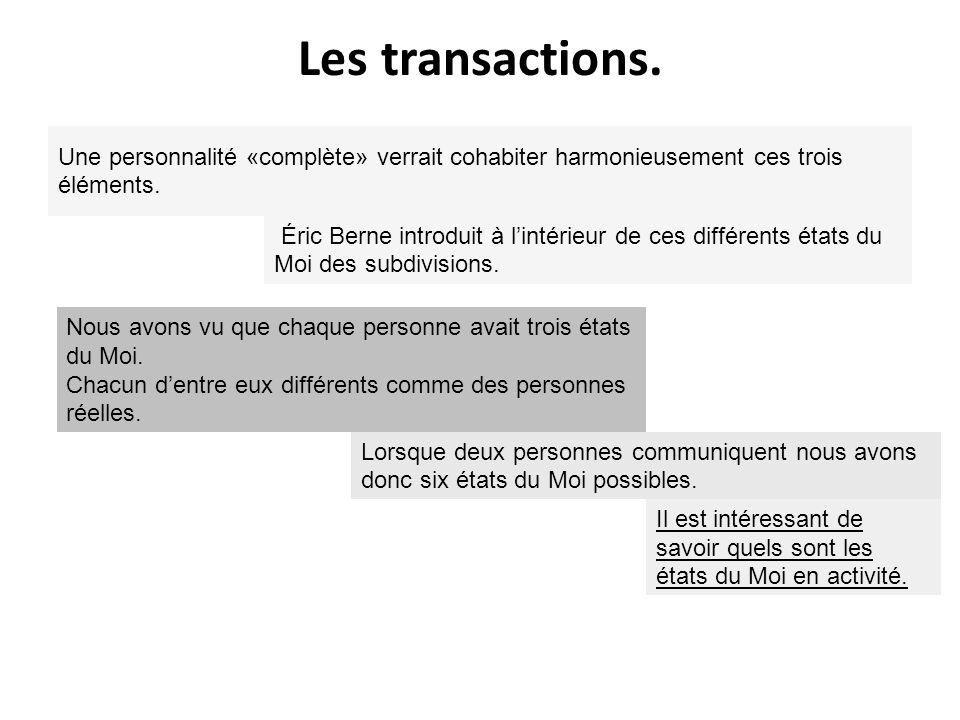 Les transactions. Une personnalité «complète» verrait cohabiter harmonieusement ces trois éléments.