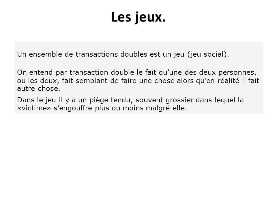 Les jeux. Un ensemble de transactions doubles est un jeu (jeu social).