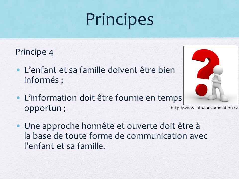 Principes Principe 4. L'enfant et sa famille doivent être bien informés ; L'information doit être fournie en temps opportun ;