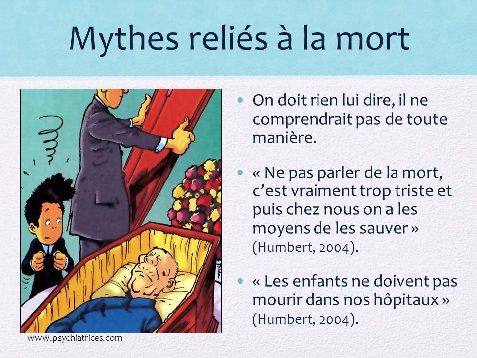 Mythes reliés à la mort On doit rien lui dire, il ne comprendrait pas de toute manière.