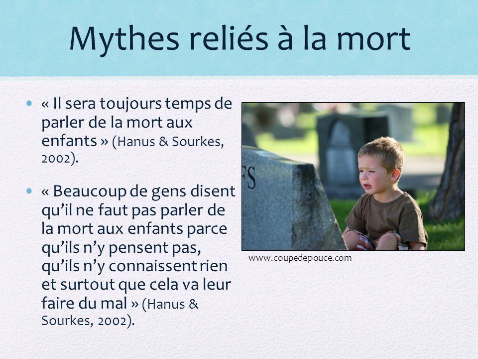 Mythes reliés à la mort « Il sera toujours temps de parler de la mort aux enfants » (Hanus & Sourkes, 2002).