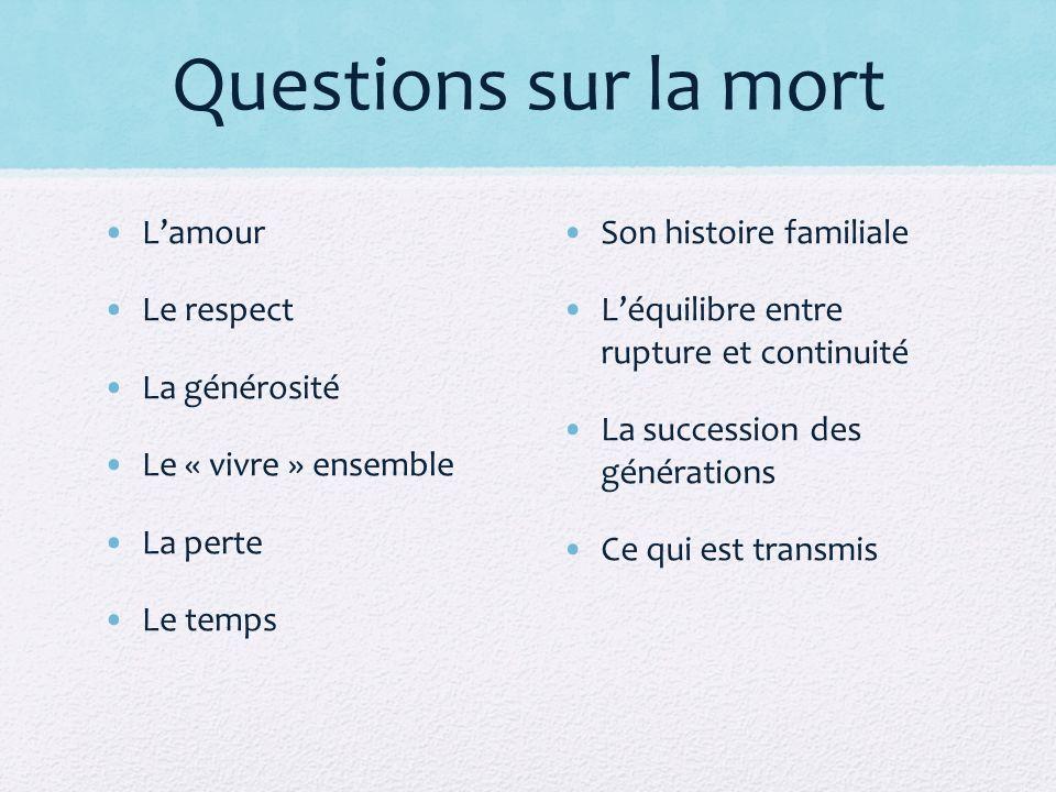 Questions sur la mort L'amour Le respect La générosité