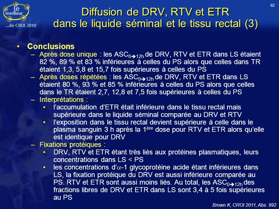 62 Diffusion de DRV, RTV et ETR dans le liquide séminal et le tissu rectal (3) Conclusions.