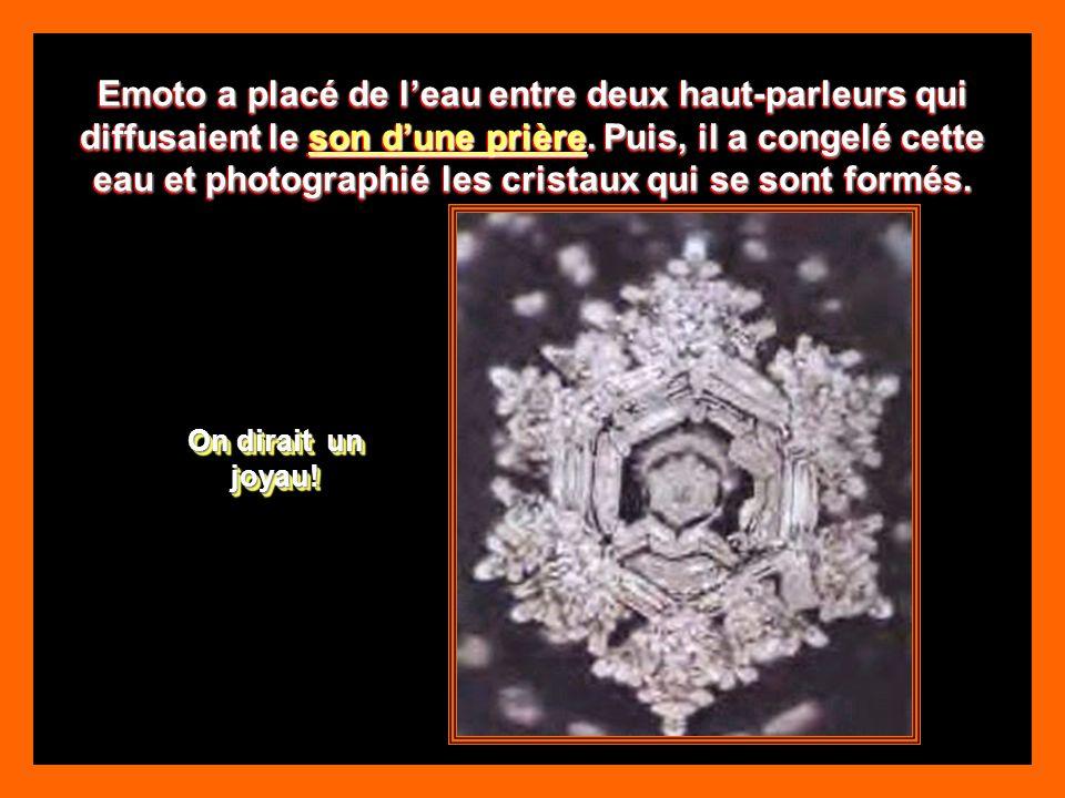 Emoto a placé de l'eau entre deux haut-parleurs qui diffusaient le son d'une prière. Puis, il a congelé cette eau et photographié les cristaux qui se sont formés.