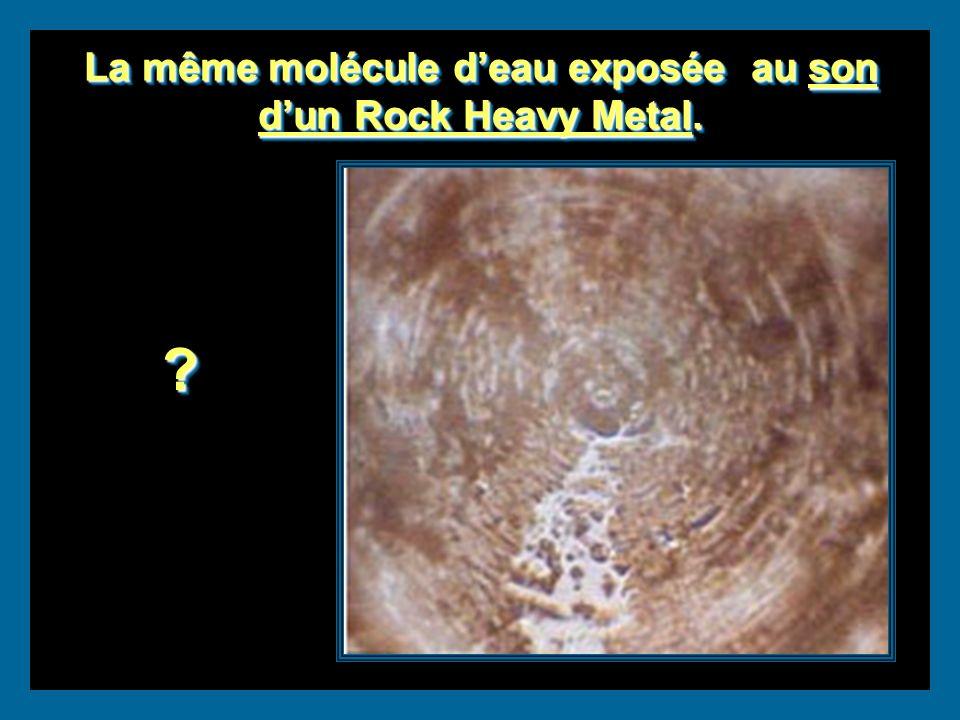 La même molécule d'eau exposée au son d'un Rock Heavy Metal.