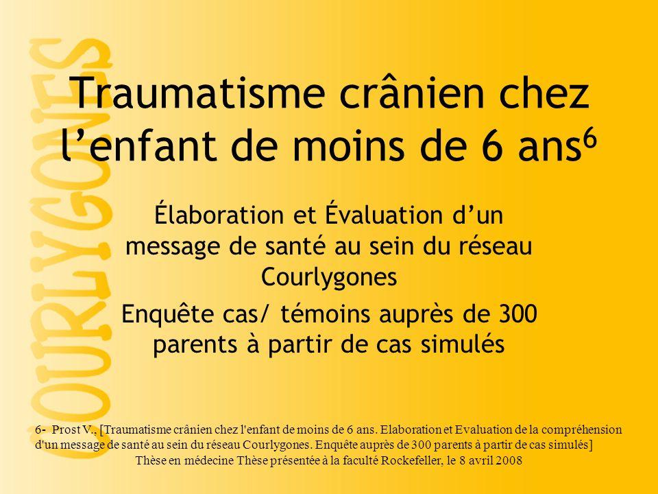 Traumatisme crânien chez l'enfant de moins de 6 ans6