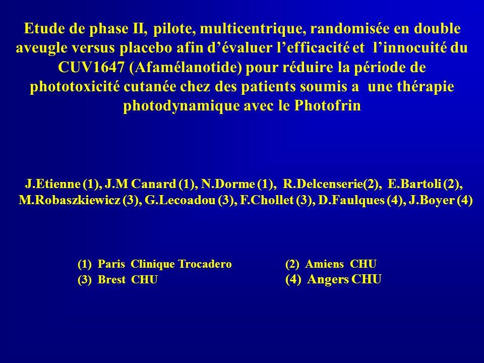 Etude de phase II, pilote, multicentrique, randomisée en double aveugle versus placebo afin d'évaluer l'efficacité et l'innocuité du CUV1647 (Afamélanotide) pour réduire la période de phototoxicité cutanée chez des patients soumis a une thérapie photodynamique avec le Photofrin