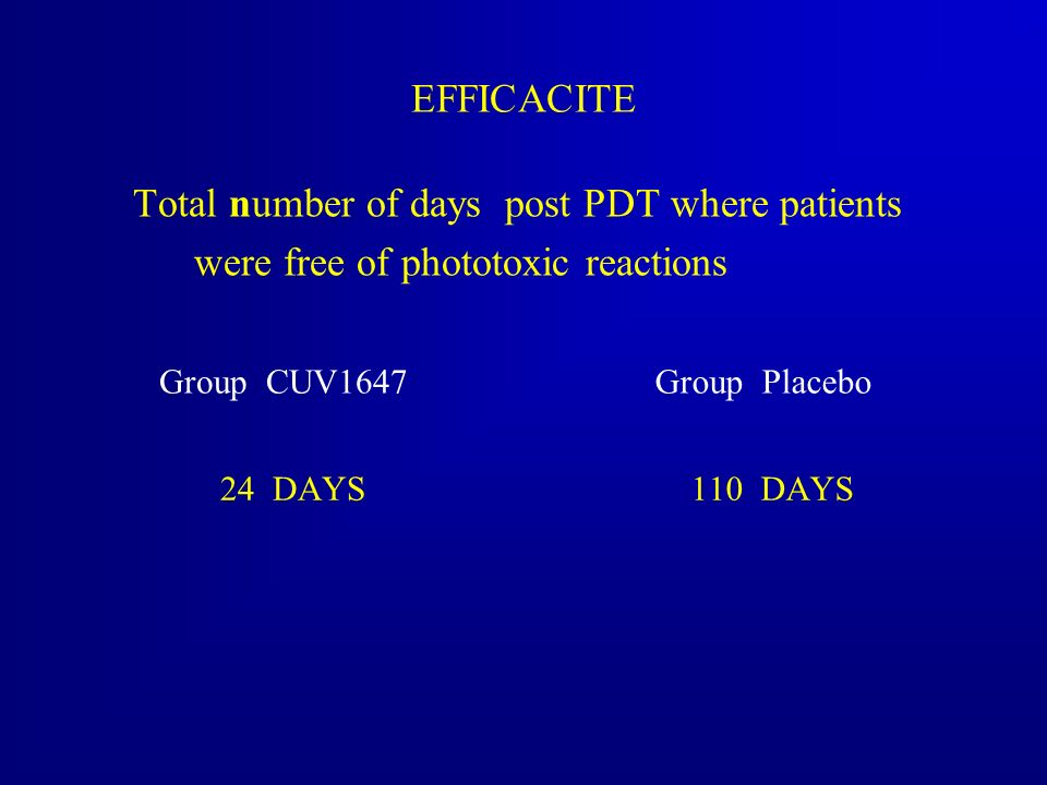 Total number of days post PDT where patients