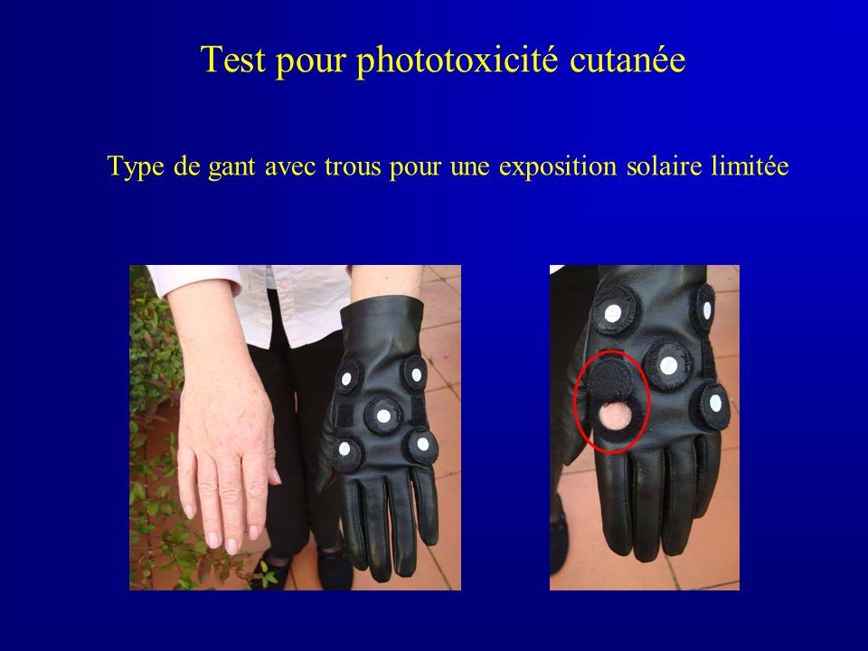 Test pour phototoxicité cutanée