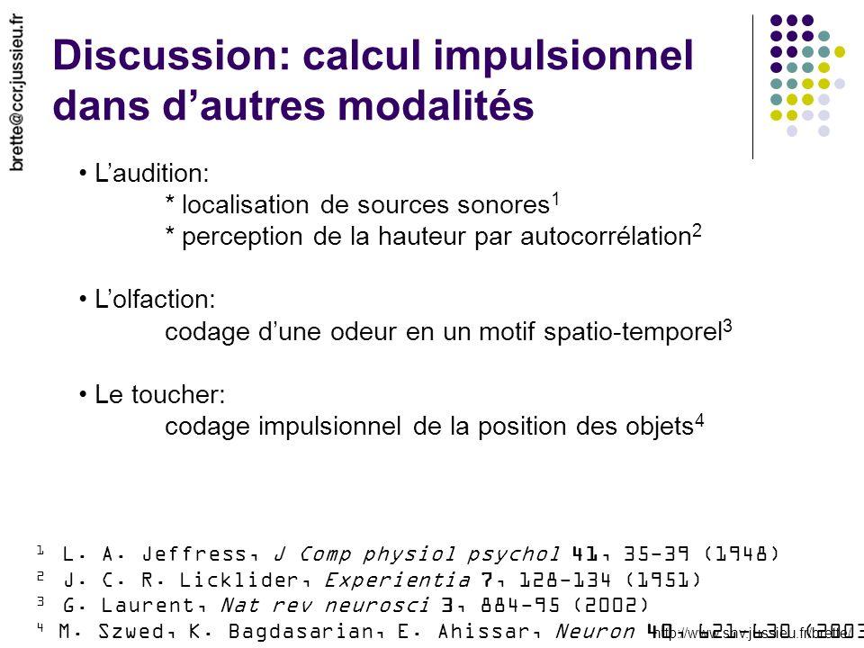 Discussion: calcul impulsionnel dans d'autres modalités