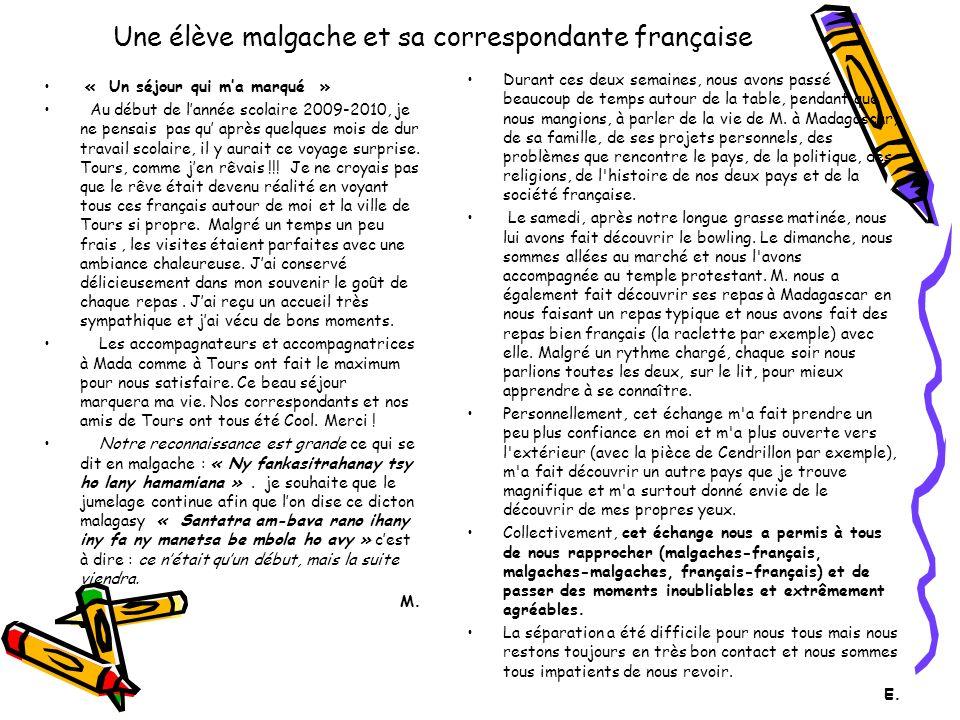 Une élève malgache et sa correspondante française