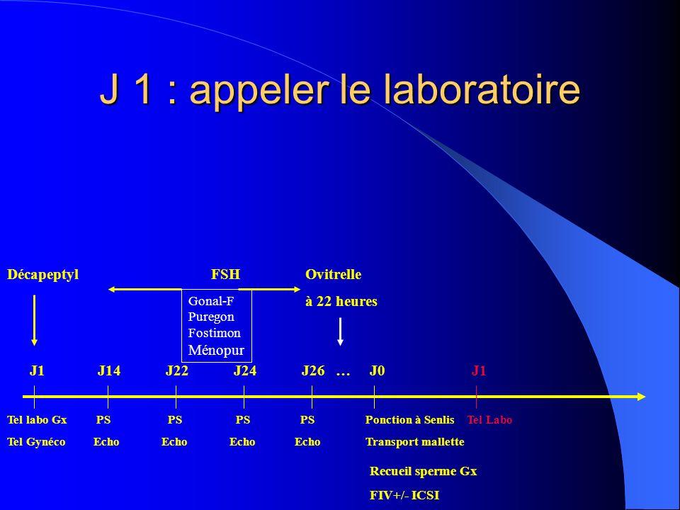 J 1 : appeler le laboratoire