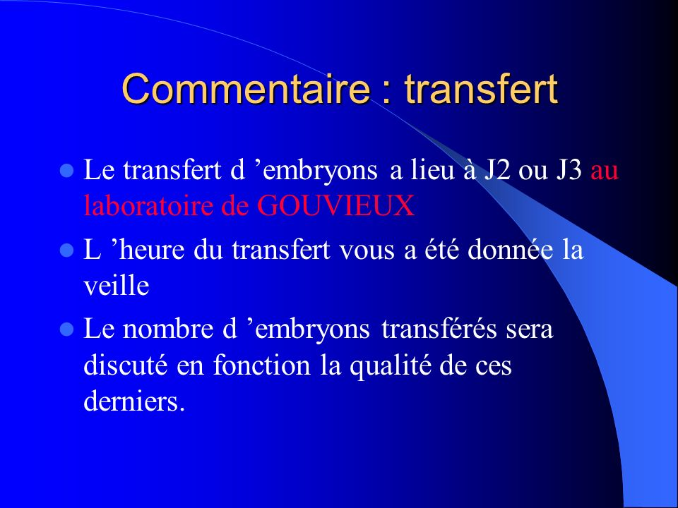 Commentaire : transfert