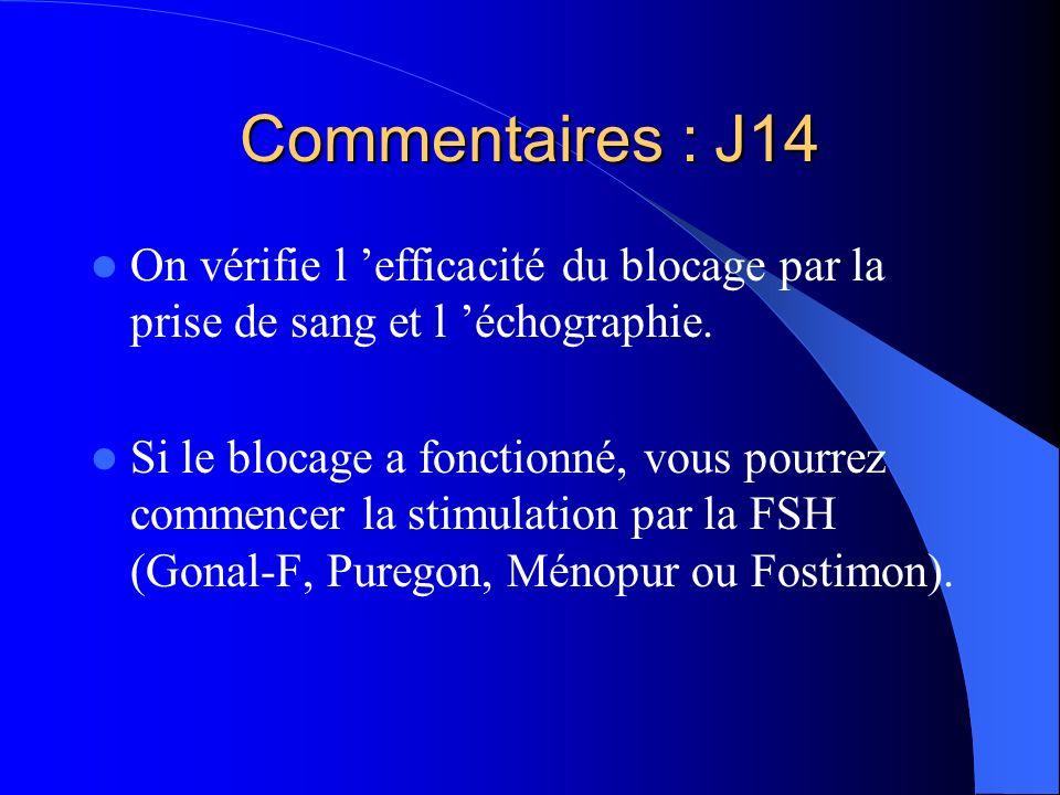 Commentaires : J14 On vérifie l 'efficacité du blocage par la prise de sang et l 'échographie.