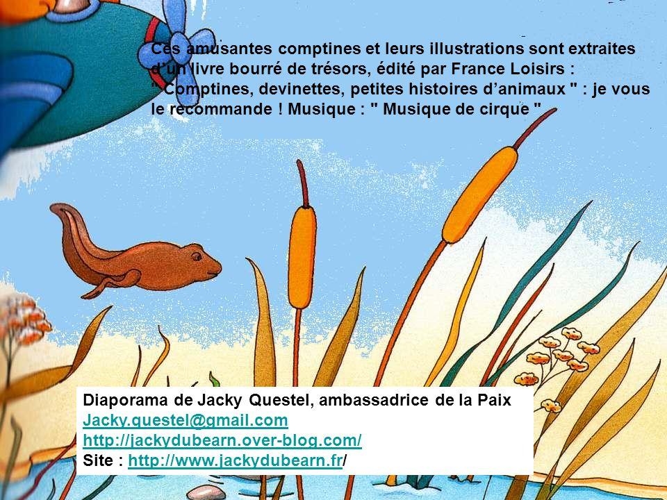 Ces amusantes comptines et leurs illustrations sont extraites d'un livre bourré de trésors, édité par France Loisirs : Comptines, devinettes, petites histoires d'animaux : je vous le recommande ! Musique : Musique de cirque