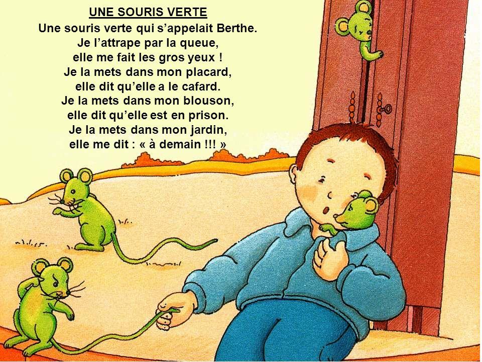 Une souris verte qui s'appelait Berthe. Je l'attrape par la queue,