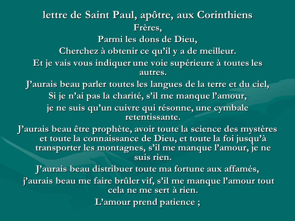 lettre de Saint Paul, apôtre, aux Corinthiens