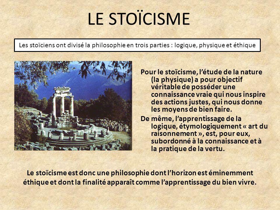 LE STOÏCISME Les stoïciens ont divisé la philosophie en trois parties : logique, physique et éthique.