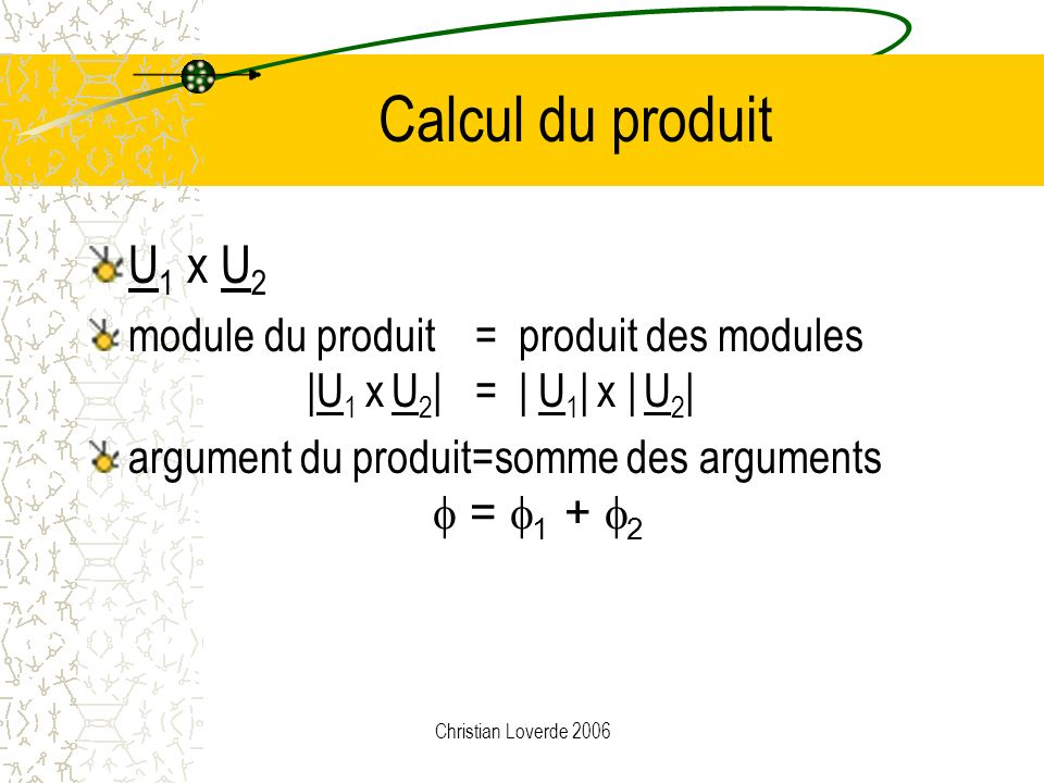 Calcul du produit U1 x U2. module du produit = produit des modules |U1 x U2| = | U1| x | U2|