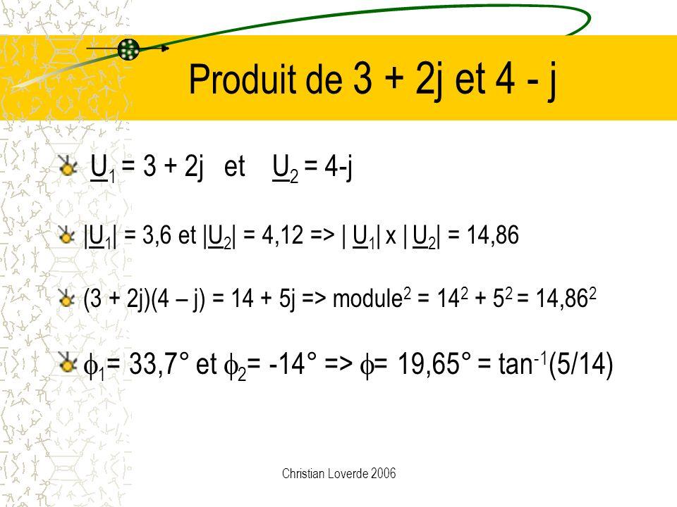 Produit de 3 + 2j et 4 - j U1 = 3 + 2j et U2 = 4-j