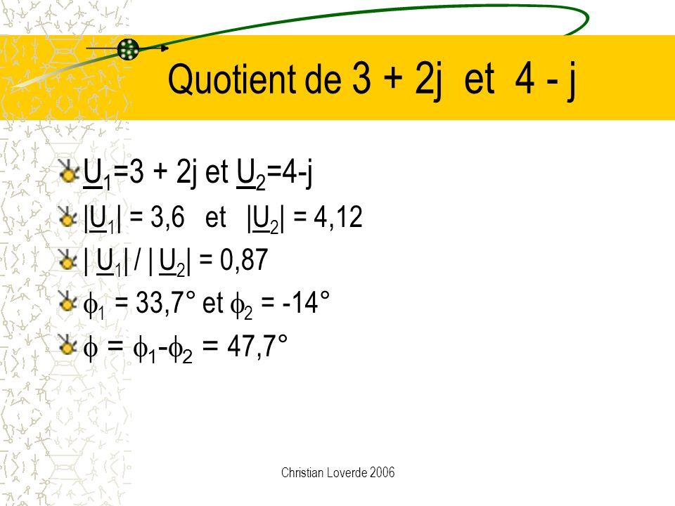 Quotient de 3 + 2j et 4 - j U1=3 + 2j et U2=4-j