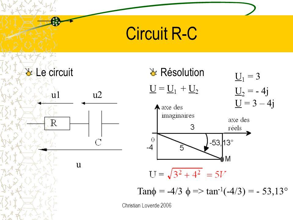 Circuit R-C Le circuit Résolution U1 = 3 U = U1 + U2 U2 = - 4j u1 u2