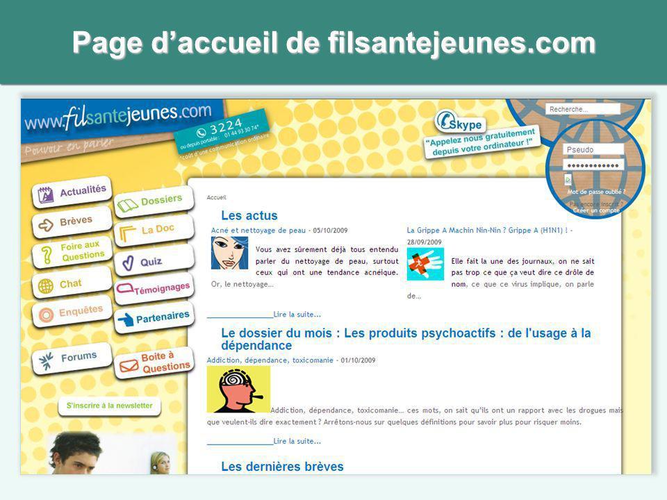 Page d'accueil de filsantejeunes.com