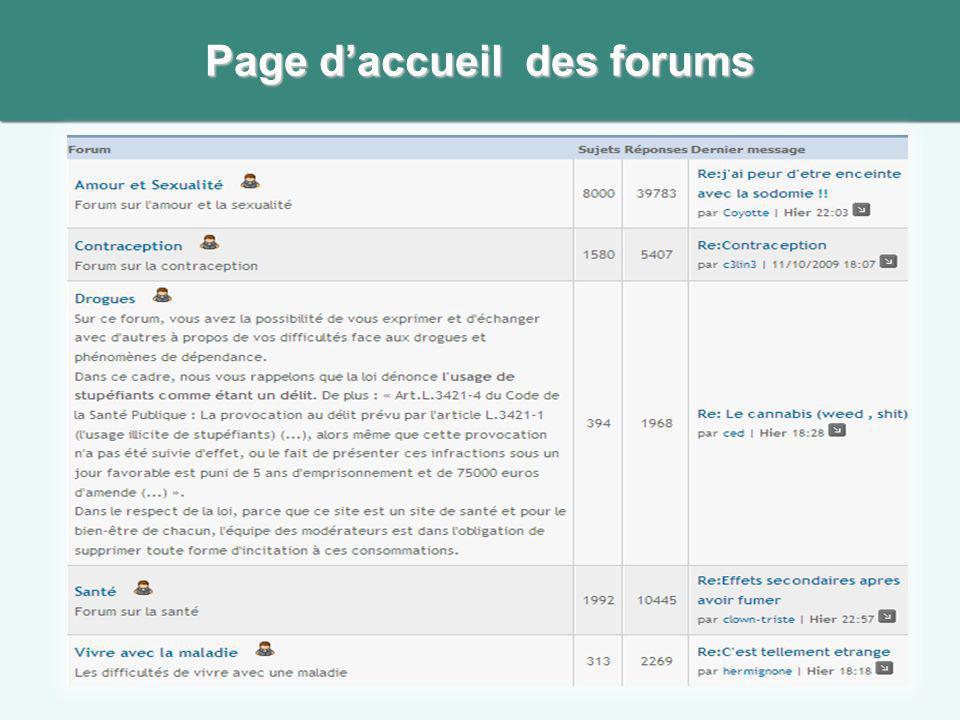 Page d'accueil des forums