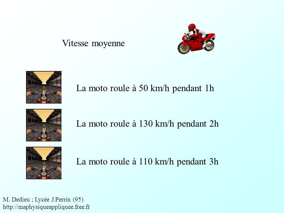 La moto roule à 50 km/h pendant 1h