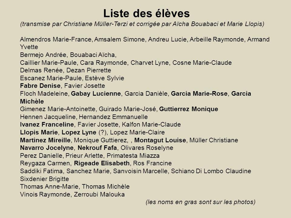 Liste des élèves (transmise par Christiane Müller-Terzi et corrigée par Aïcha Bouabaci et Marie Llopis)