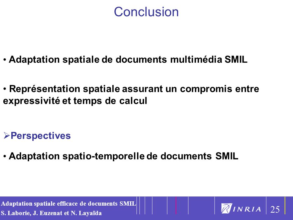 Conclusion Adaptation spatiale de documents multimédia SMIL