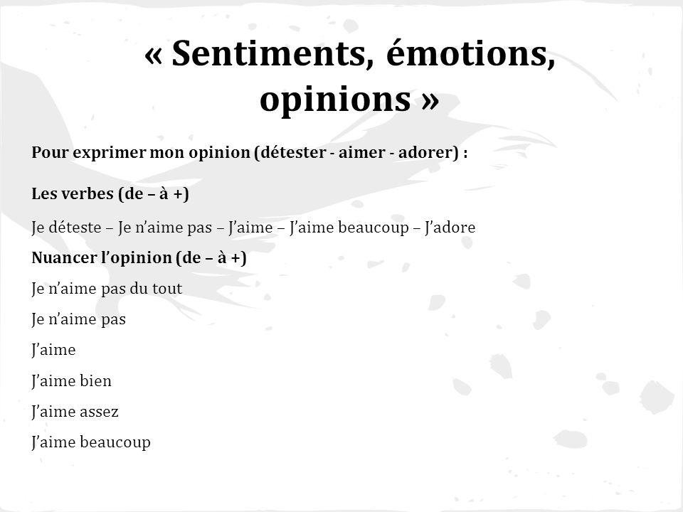 « Sentiments, émotions, opinions »