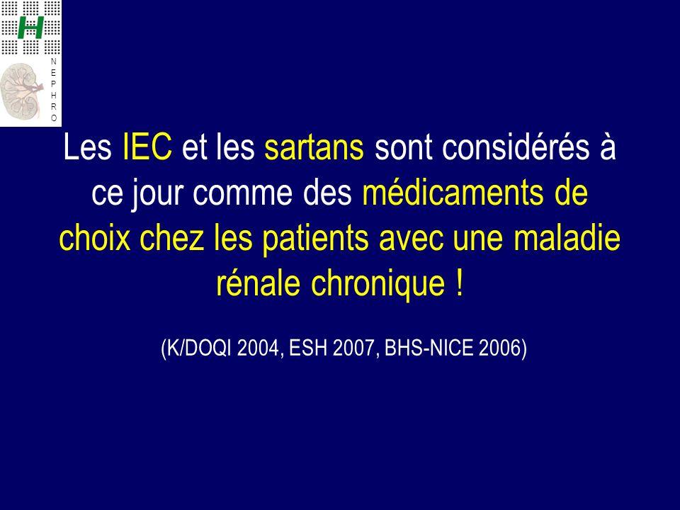 Les IEC et les sartans sont considérés à ce jour comme des médicaments de choix chez les patients avec une maladie rénale chronique !