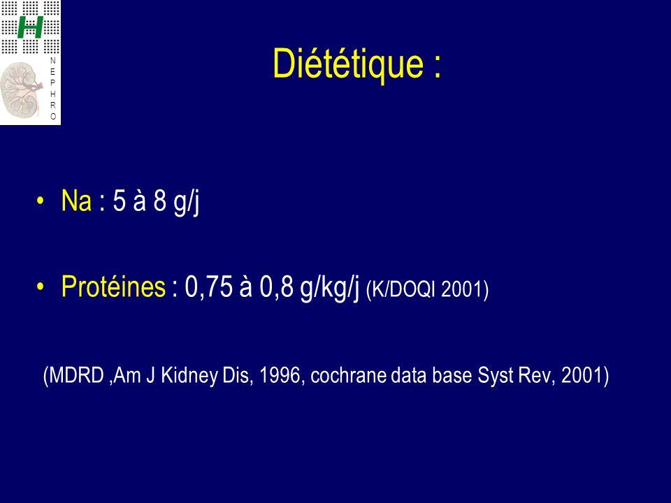 Diététique : Na : 5 à 8 g/j.