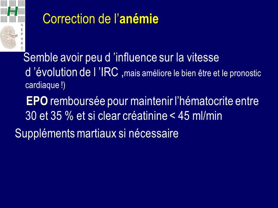 Correction de l'anémie Semble avoir peu d 'influence sur la vitesse d 'évolution de l 'IRC ,mais améliore le bien être et le pronostic cardiaque !) EPO remboursée pour maintenir l'hématocrite entre 30 et 35 % et si clear créatinine < 45 ml/min Suppléments martiaux si nécessaire