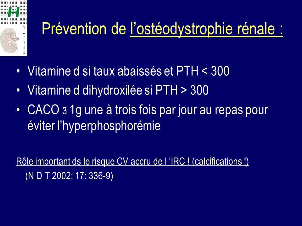 Prévention de l'ostéodystrophie rénale :