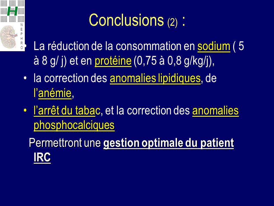 Conclusions (2) : La réduction de la consommation en sodium ( 5 à 8 g/ j) et en protéine (0,75 à 0,8 g/kg/j),