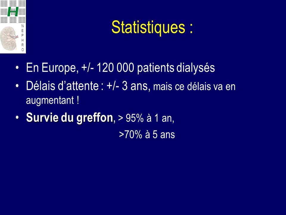 Statistiques : En Europe, +/- 120 000 patients dialysés